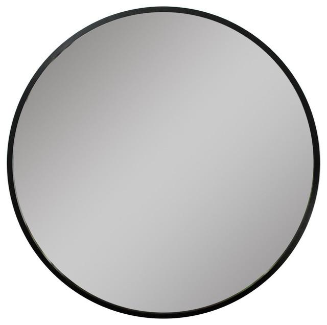 "Hub 24"" Mirror, Black, 37"""