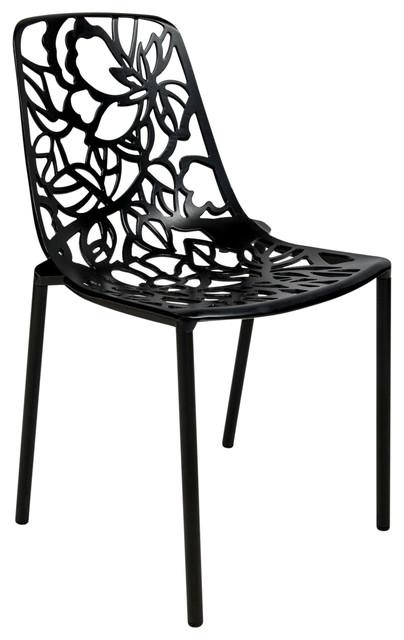 Leisuremod Modern Devon Aluminum Chair Armless In Black