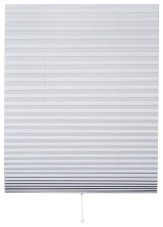 "1-2-3 Vinyl Room Darkening Window Pleated Shade, White, 36""x75""."