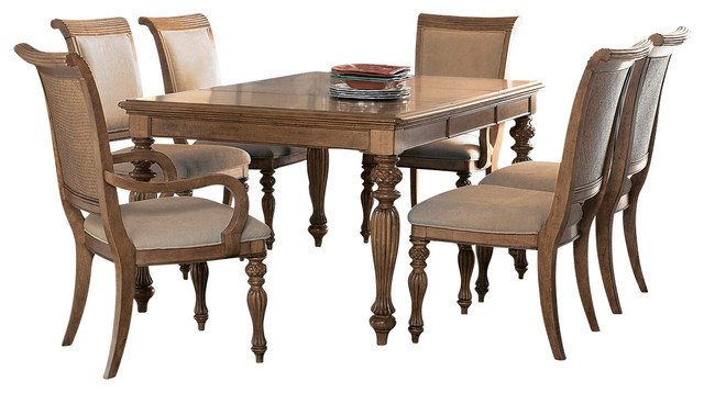 American Drew Grand Isle 7 Piece Leg Dining Room Set In Amber Traditional