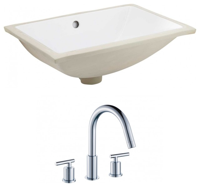 Rectangle Undermount Sink Set, Chrome Hardware, White, 20.75.