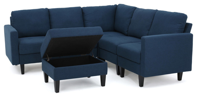 Brilliant Gdf Studio Carolina Fabric Sectional Couch With Storage Ottoman Dark Blue Andrewgaddart Wooden Chair Designs For Living Room Andrewgaddartcom