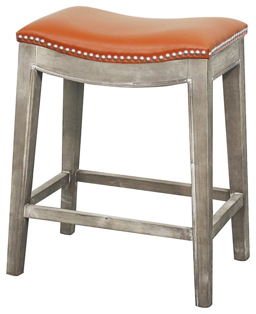Elmo Bonded Leather Counter Stool Transitional Bar