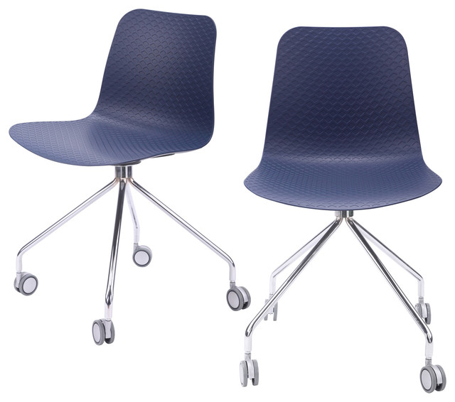 Hebe Series Office Chairs Molded Seat With Chrome Wheel Leg, Set Of 2, Navy.