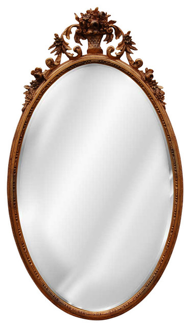 Oval flower basket mirror antique gold baroque for Baroque oval wall mirror