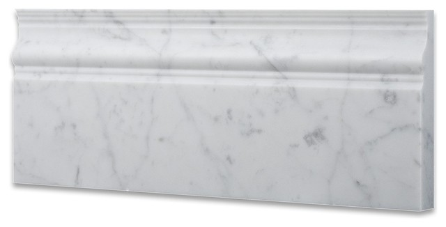 Carrara White Marble Polished 5x12 Baseboard Molding