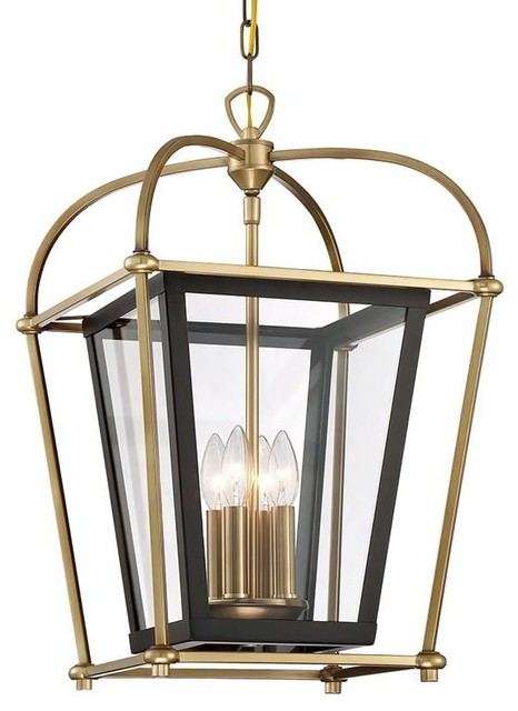 Waterbury design works baron 4 light foyer lantern chandelier baron 4 light foyer lantern chandelier fixture matte black accents aged brass a transitional mozeypictures Images