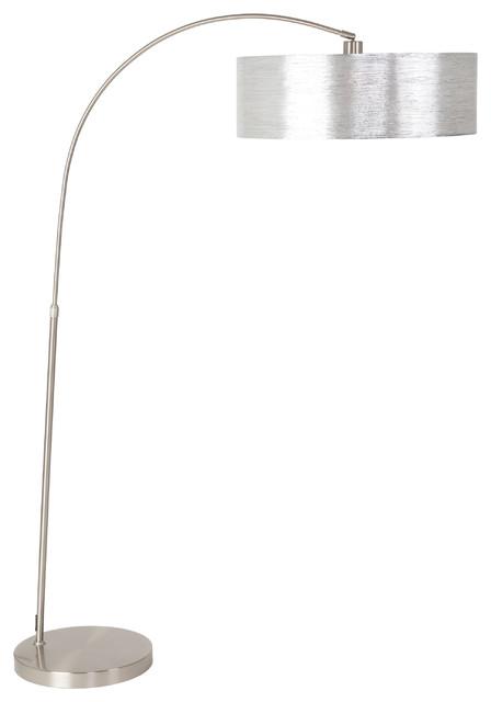 1-Light Arc Floor Lamp, Starlight Weave Shade, Satin Steel.