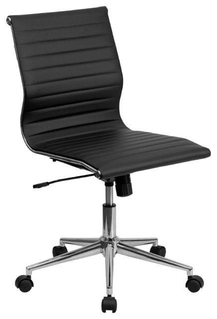 Flash Furniture Armless Black Ribbed Leather Swivel Chair