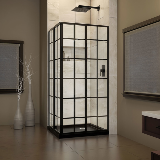 dreamline french corner shower enclosure and black base