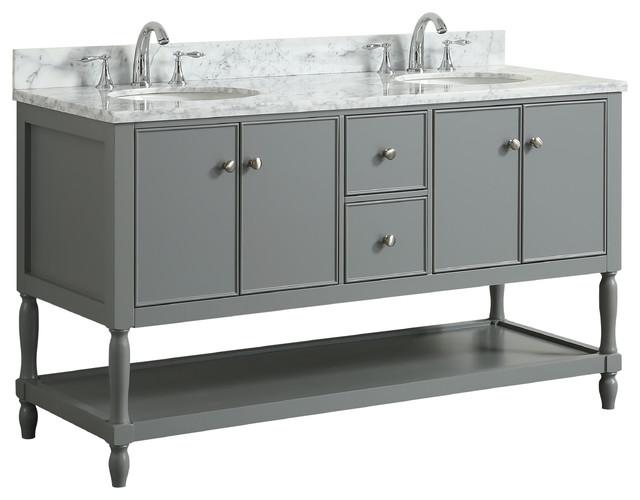 "Aurellia Gray Bathroom Vanity With Sinks, 60""."