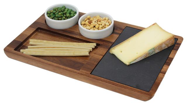 acacia wood slate cheese board appetizer set andplatters