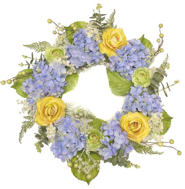 Blue And Yellow Hydrangea Wreath.
