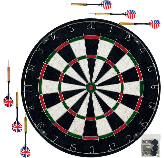 Pro-Style Bristle Dart Board Set with 6 Darts and Board by Trademark Gameroom - Traditional ...