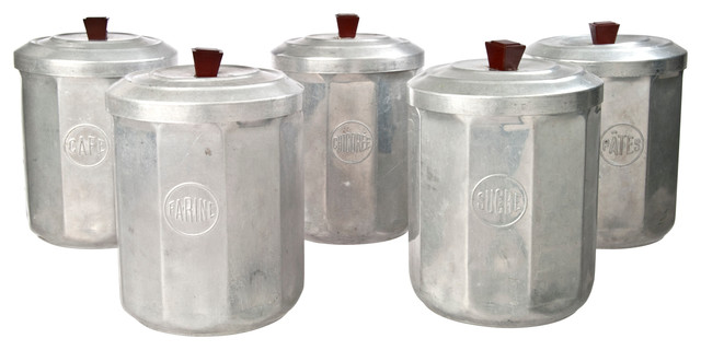 Kitchen Cannister Sets Consigned Tenpiece Vintage French Aluminum