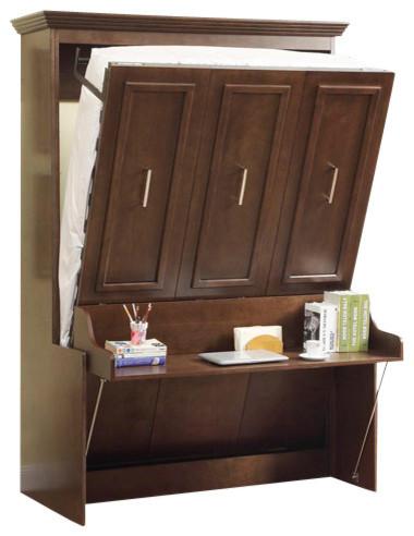 double portrait wall beddesk walnut - Murphy Bed With Desk