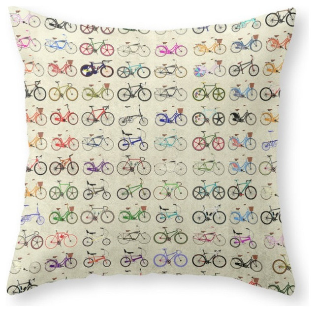 "Bikes Throw Pillow Cover, 18""x18"" With Pillow Insert."
