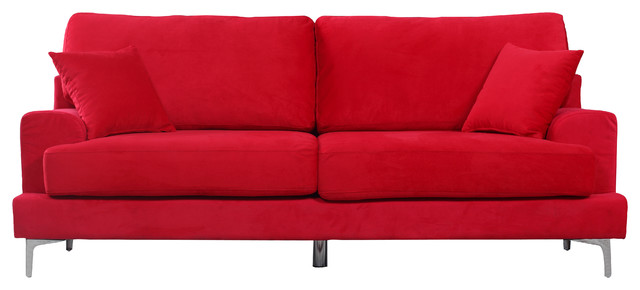 ultra modern red passion love seat   Ultra Modern Plush Velvet Living Room Sofa - Contemporary ...
