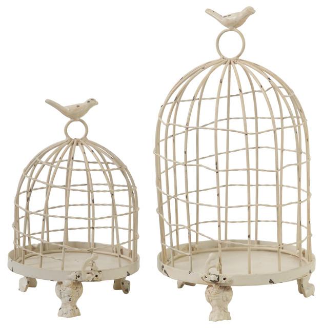 Decorative Metal Bird Cage.Decorative Metal Bird Cage Cream Set Of 2