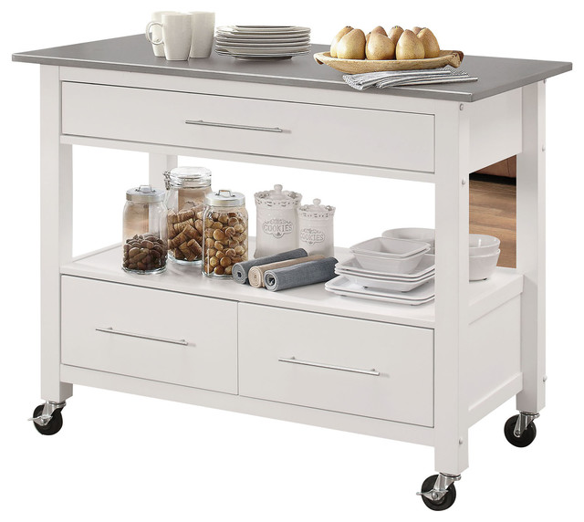 Glencrest Kitchen Cart, Stainless Steel And White