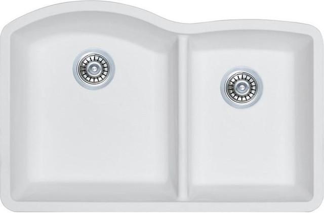 G 3221os W White Granite Composite Double Offset Bowl Kitchen Sink
