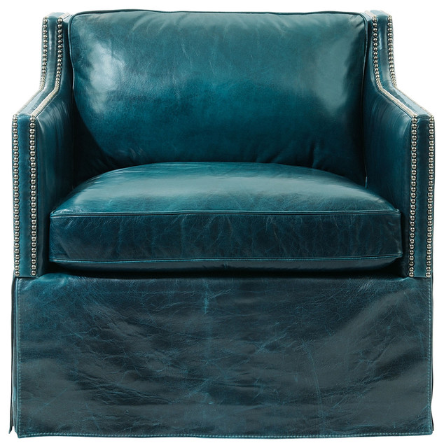 Britta Hollywood Regency Nailhead Blue Leather Skirted Armchair  Transitional Living Room Chairs