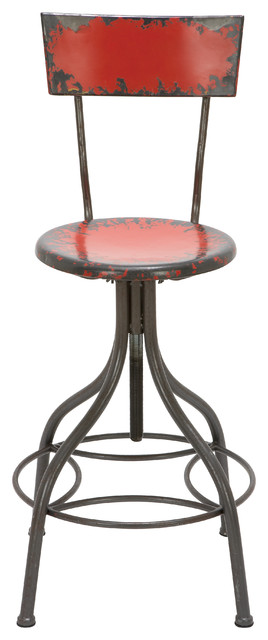 Admirable Industrial Style Metal Bar Chair With Adjustable Seat Red Ncnpc Chair Design For Home Ncnpcorg