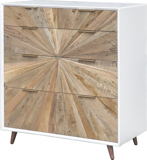 Casablanca 5 Drawer Chest, Rustic Natural, White Lacquer