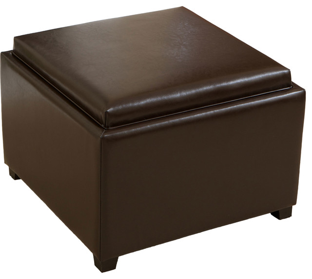 Large Ottoman Coffee Table Tray: Jefferson Tray-Top Storage Ottoman Coffee Table