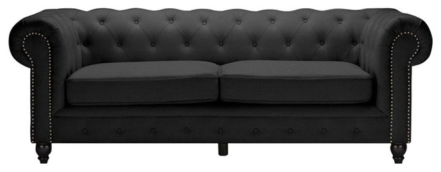 Cassandra Classic Rolled Arm Gray Linen Upholstered Chesterfield 3-Seater Sofa.