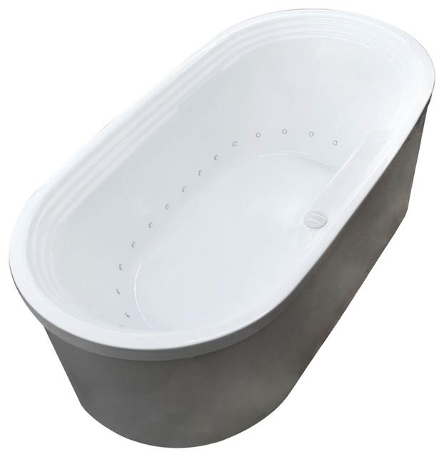 Lucien Oval Freestanding Bathtub, White, Air Contemporary Bathtubs