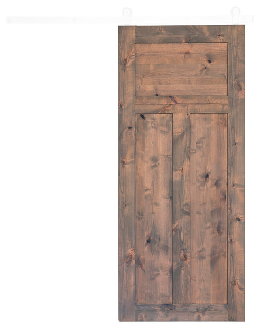 3 Panel Craftsman Barn Door, Stained Classic Gray, 84