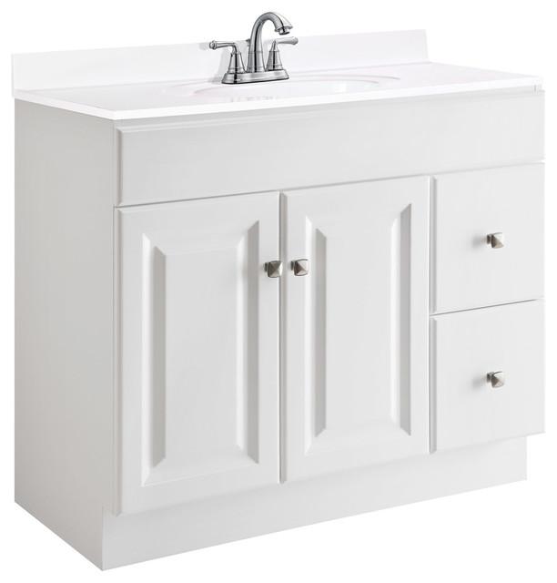Wyndham Vanity SemiGloss White Transitional Bathroom - Wyndham bathroom vanities