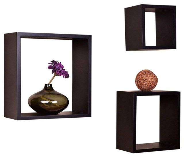 Victorian Tri Wall Shelves Cube Displaying Shelf Set of 3, Espresso  contemporary-display-