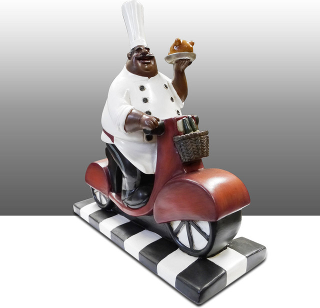Chef Kitchen Statue On Bike Table Art Decor Traditional With Chef Kitchen Decor