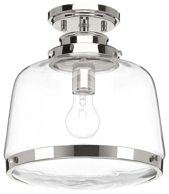 Judson 1-Light Flush Mount Polished Nickel Clear Glass.
