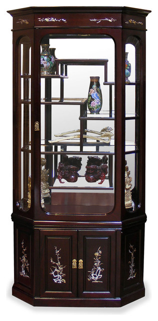 Superieur Rosewood Moon Shape Pearl Inlaid Motif Curio Cabinet