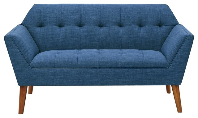 Fantastic Mid Century Modern Style Newport Blue Loveseat Sofa Squirreltailoven Fun Painted Chair Ideas Images Squirreltailovenorg