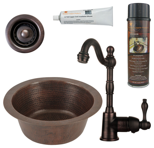 """12"""" Round Copper Bar/prep Sink, Faucet, 2"""" Strainer Drain And Accessories."""