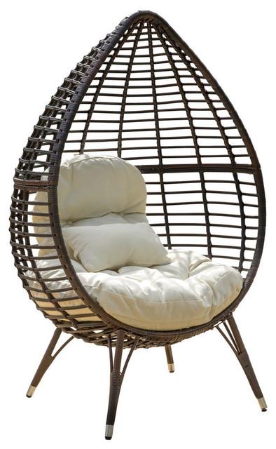GDF Studio Dermot Multibrown Wicker Lounge Teardrop Chair With Cushion
