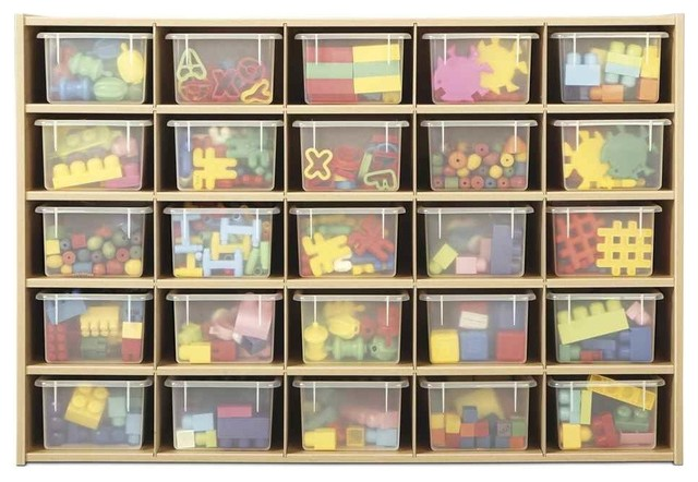 25-Cubby Tray Storage With Clear Tray.