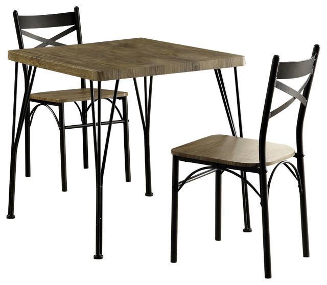 Joslin 3 Piece Dining Set, Dark Bronze Industrial Dining Sets
