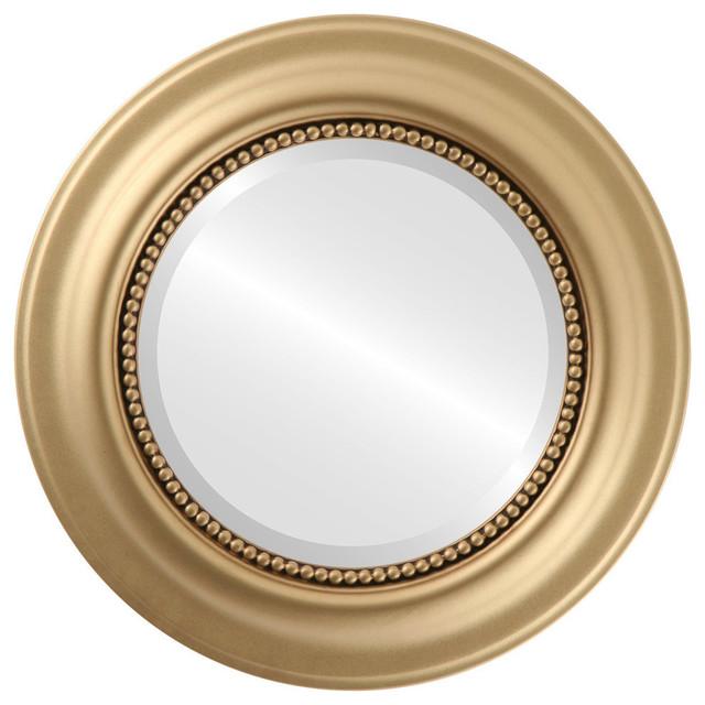 """Heritage Framed Round Mirror In Gold Spray, 29""""x29"""". -1"""