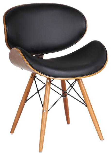 Pleasing Cassie Dining Chair Walnut Wood And Black Pu Machost Co Dining Chair Design Ideas Machostcouk