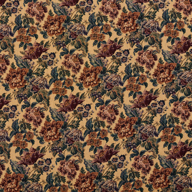 Beige Green And Burgundy Vintage Floral Tapestry Upholstery Fabric By The Yard
