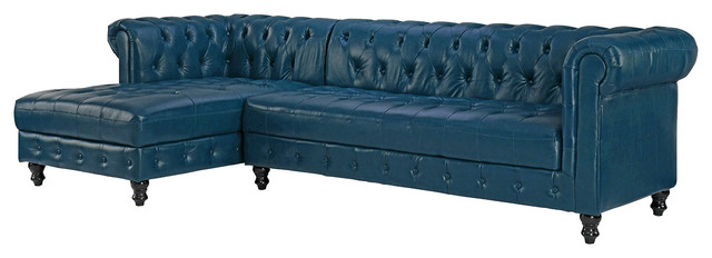 Chesterfield Tufted Leather Sectional Sofa With Left Facing Chaise, Blue.