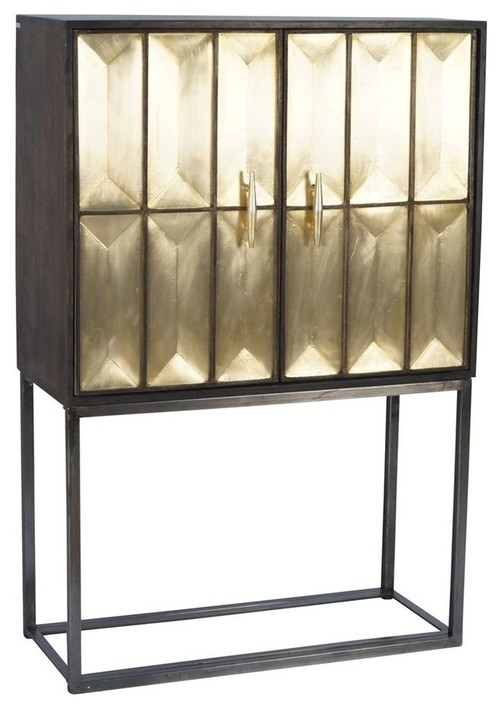 Sagebrook Home Wood & Metal Tall 2 Door Cabinet, Gold