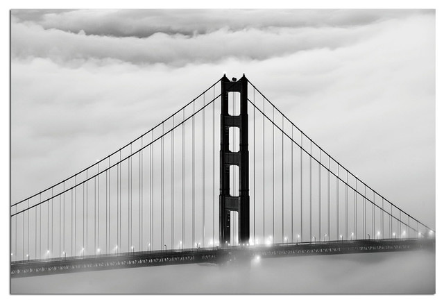 Tempered Glass Wall Art, San Francisco Golden Gate Bridge 1  Traditional Prints And