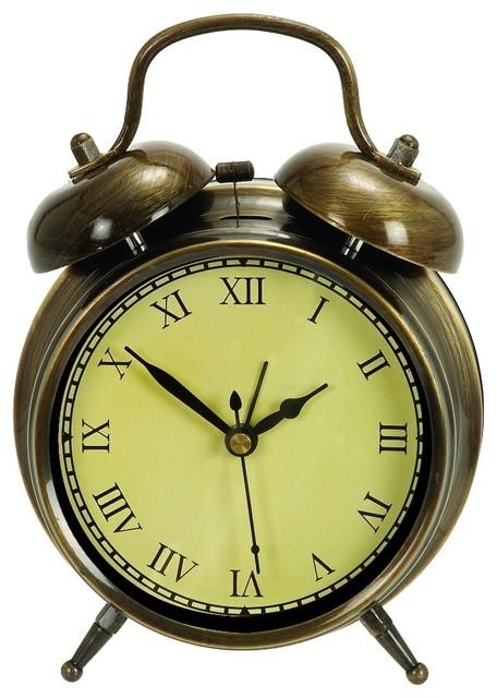 Old Fashioned Metal Alarm Table Clock Bronze Accent Decor