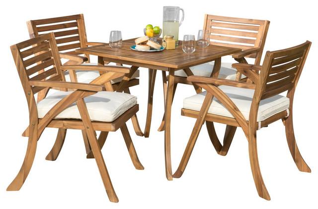 Pleasing Deandra 5 Piece Outdoor Wood Dining With Cushions Set Teak Machost Co Dining Chair Design Ideas Machostcouk